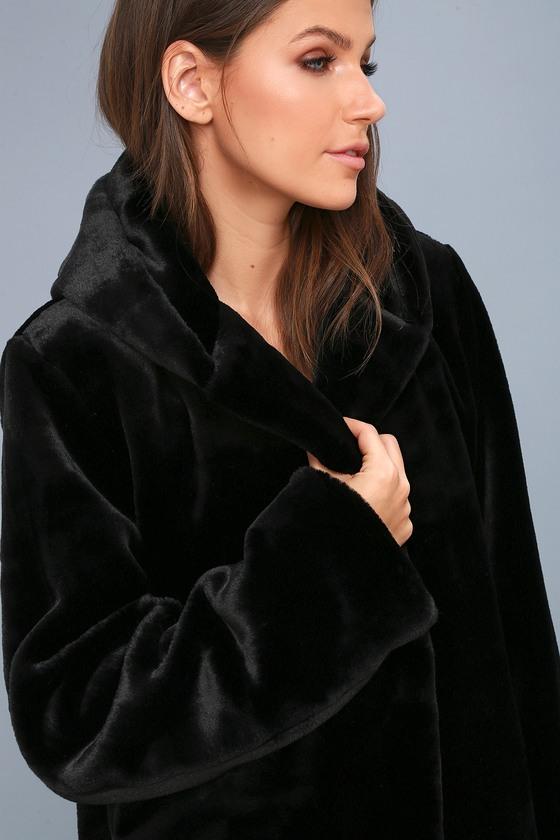 d6040eae8 Luxe Black Jacket - Faux Fur Jacket - Hooded Jacket