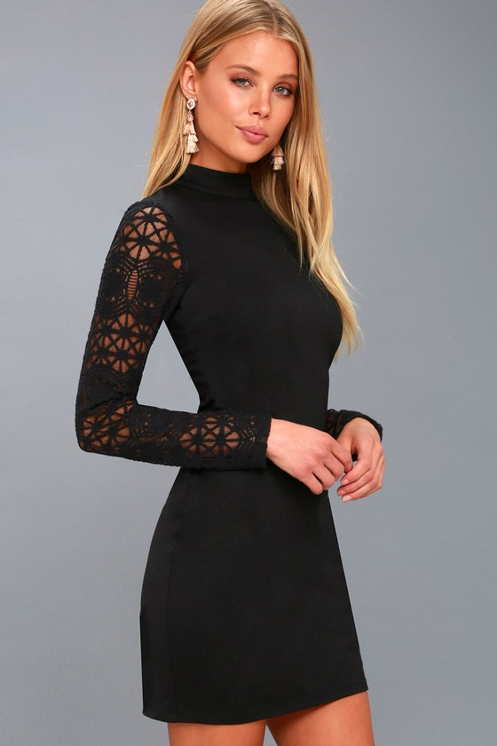 024941e099 Sexy Black Dress - Lace Long Sleeve Dress - Bodycon Dress