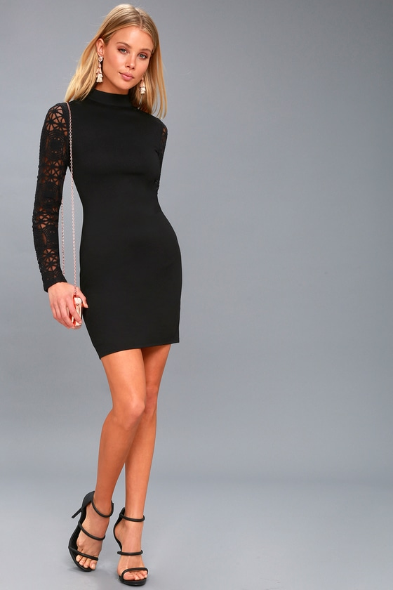 3928967235 Sexy Black Dress - Lace Long Sleeve Dress - Bodycon Dress
