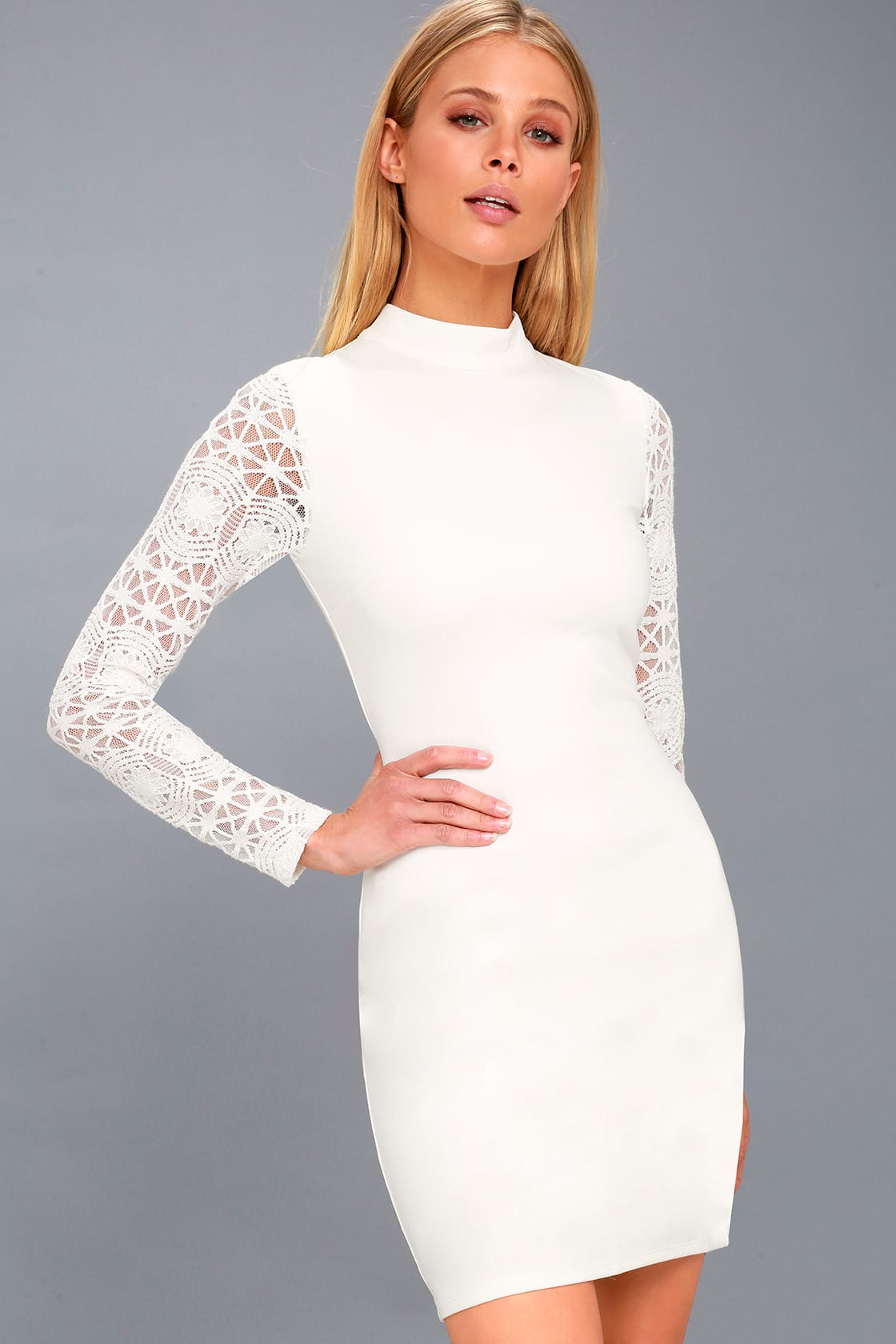 Lace Up Your Sleeve White Lace Long Sleeve Bodycon Dress