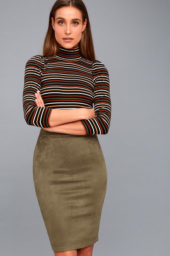 a957ad7bf Olive Green Vegan Suede Skirt - Pencil Skirt - Midi Skirt