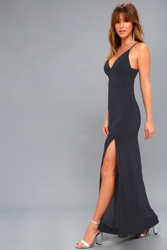 980182cf7c3 Elegant Navy Blue Maxi Dress - Sexy Navy Blue Maxi Dress