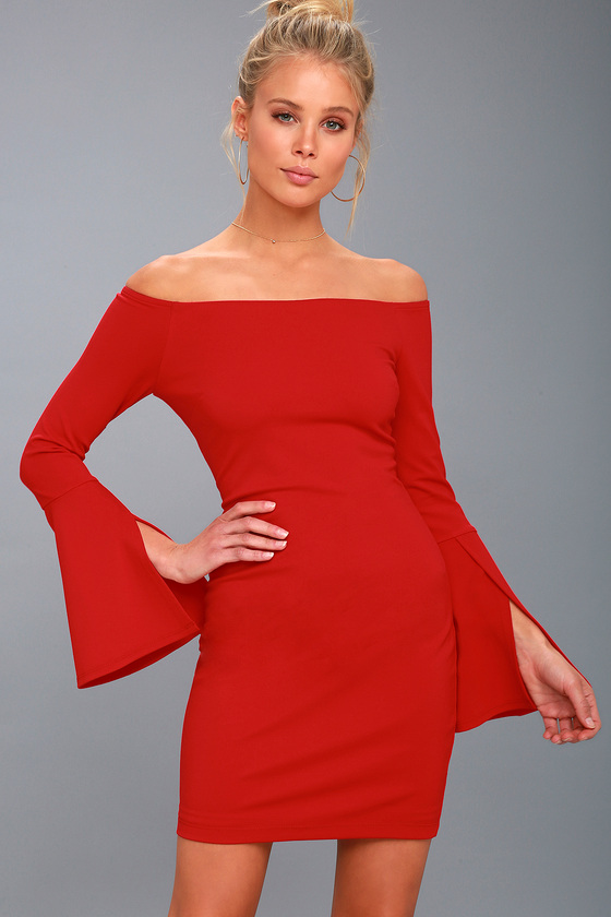 ba92c02fbd40 Chic Off-the-Shoulder Dress - Bell Sleeve Dress - Red Dress
