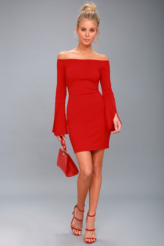 0513374b17303 Chic Off-the-Shoulder Dress - Bell Sleeve Dress - Red Dress