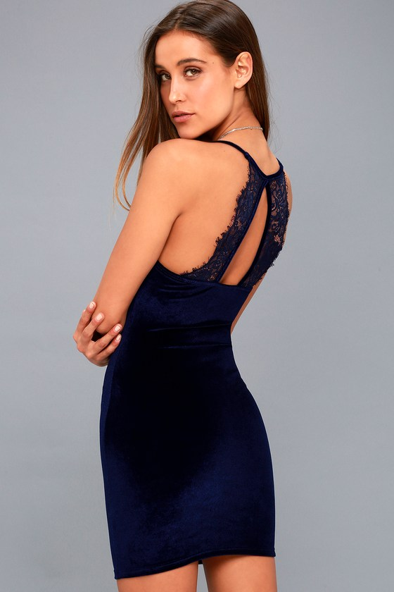 fd717cc7e6e3 Sexy Navy Blue Dress - Velvet Dress - Bodycon Dress - $46.00