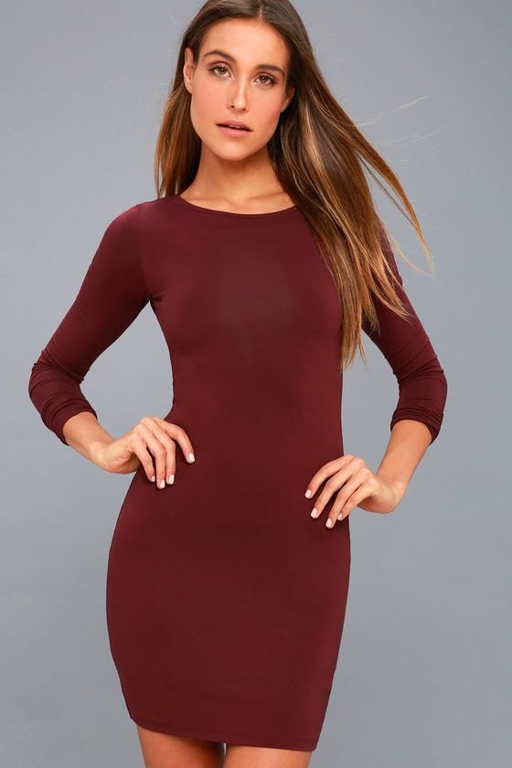 97a5049d5ade Cute Burgundy Dress - Long Sleeve Dress - Bodycon Dress -  34.00