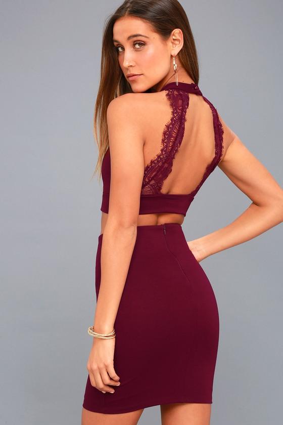 Sexy Burgundy Two Piece Dress - Lace Dress - Bodycon Dress