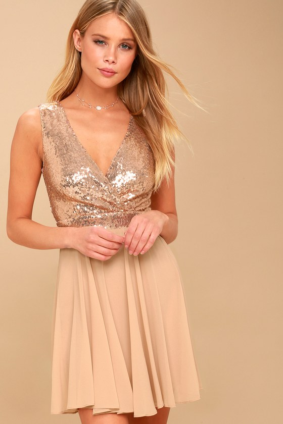 Sparkle and Shine Rose Gold Sequin Skater Dress 6