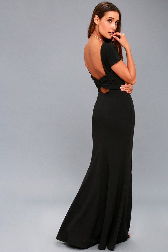 Black maxi godet dress by main