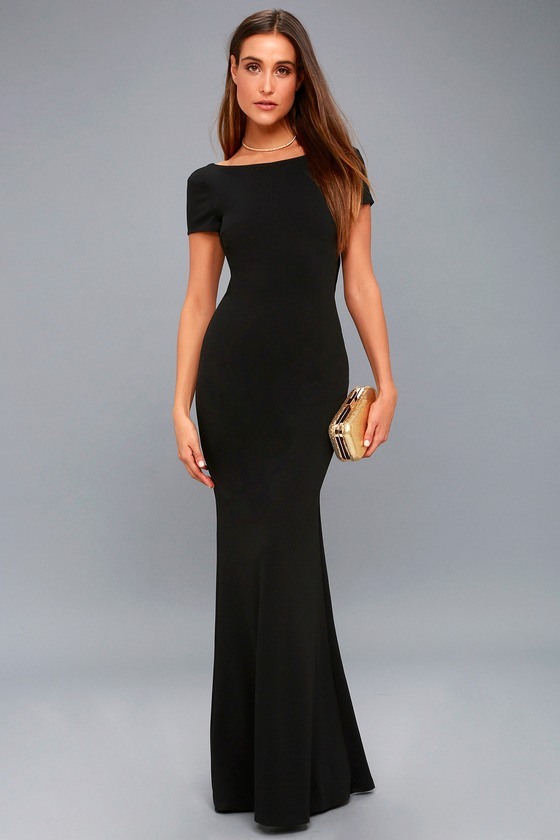 Stunning Black Maxi Dress Short Sleeve Backless Dress