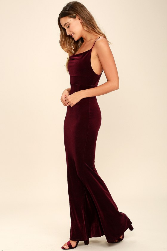 58a7924ee8c Sexy Velvet Dress - Burgundy Dress - Mermaid Maxi Dress - Bodycon Maxi Dress  -  68.00