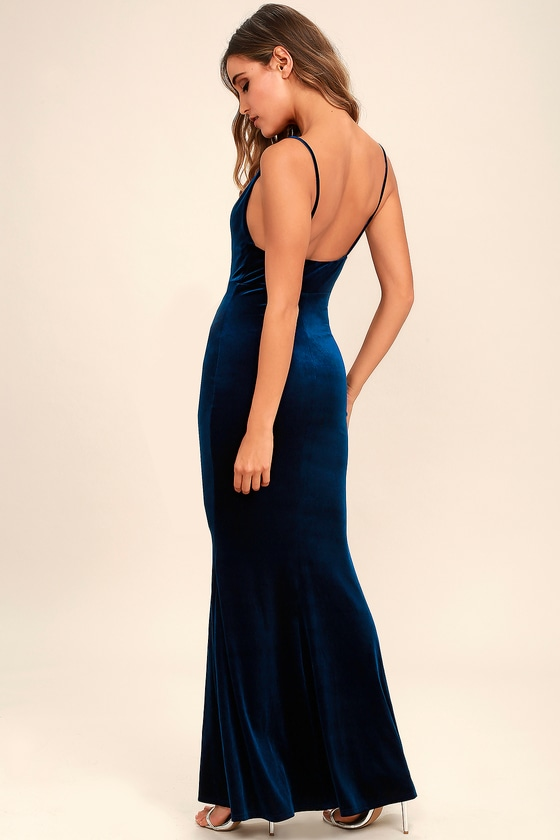 bc1ea0ceb2a Sexy Velvet Dress - Navy Blue Dress - Mermaid Maxi Dress - Bodycon Maxi  Dress -  68.00