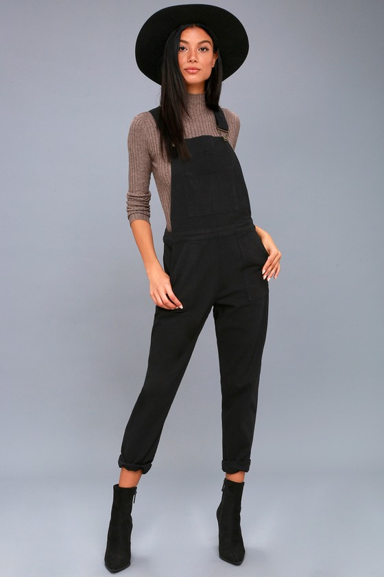 Black Overalls High Waisted Overalls Skinny Overalls