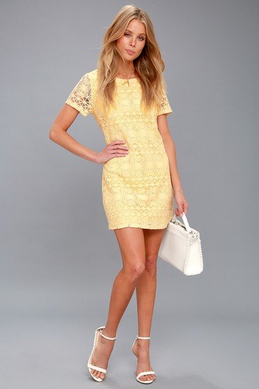 38450452d2 Love You For Eternity Yellow Lace Shift Dress