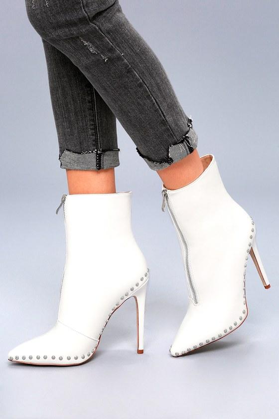 Trendy White Booties - Studded Booties - High Heel Booties 02b2dd1a31