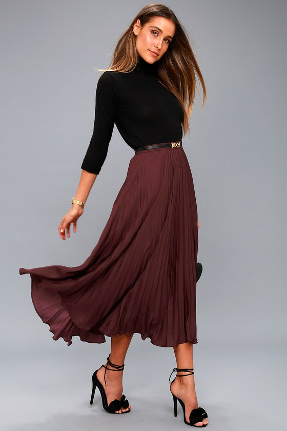 Lost + Wander BORDEAUX PLUM PURPLE PLEATED MIDI SKIRT