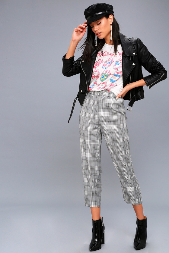 Good Girls Go Plaid Black And White Plaid Cropped Pants by Honey Punch