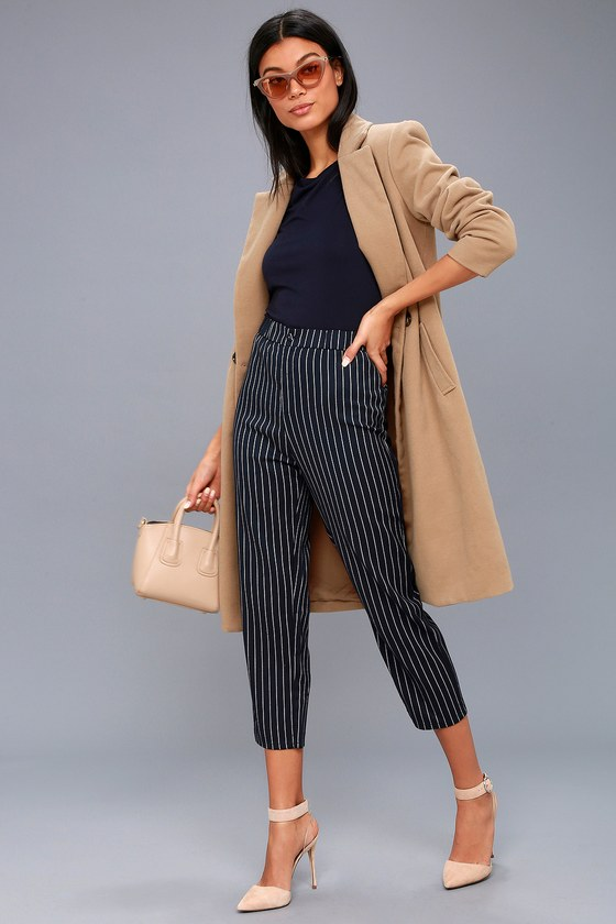 ACROSS THE BOARDROOM NAVY BLUE STRIPED CROPPED PANTS