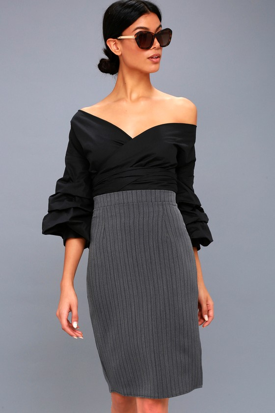 ENTREPRENEURIAL SPIRIT CHARCOAL GREY STRIPED PENCIL SKIRT