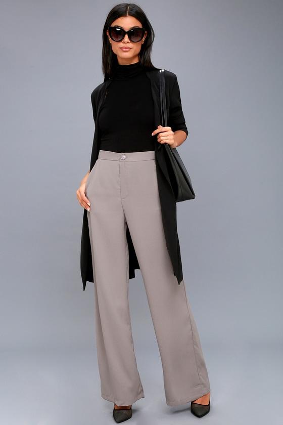 72979ec957920f Chic Grey Trouser Pants - Office Pants - Wide Leg Pants