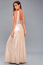 bd665cebda01 Lovely Champagne Dress - Maxi Dress - Beaded Gown