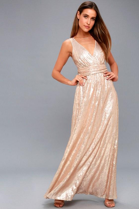 7b3982d5215 Lovely Matte Rose Gold Dress - Sequin Maxi Dress