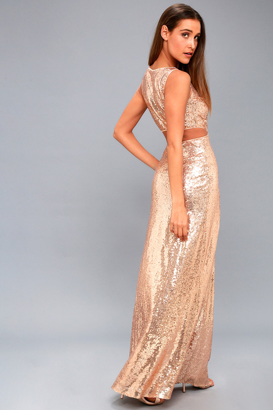 c7b9457c3a1fa Lovely Rose Gold Sequin Maxi Dress - Cutout Maxi Dress