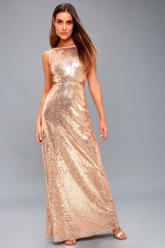 0081fa18e956 Lovely Rose Gold Sequin Maxi Dress - Cutout Maxi Dress