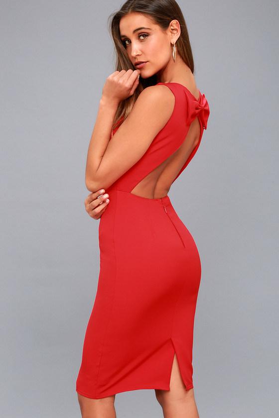 fc991dfe5f8 Chic Red Midi Dress - Sleeveless Dress - Open Back Dress