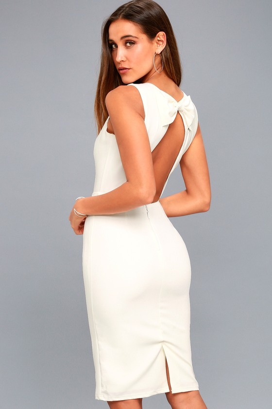 Be Mine White Open Back Midi Dress 6