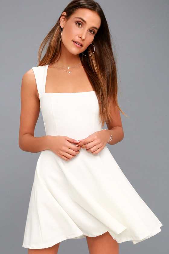 6b996f7732 Cute White Dress - Homecoming Dress - Skater Dress - LWD