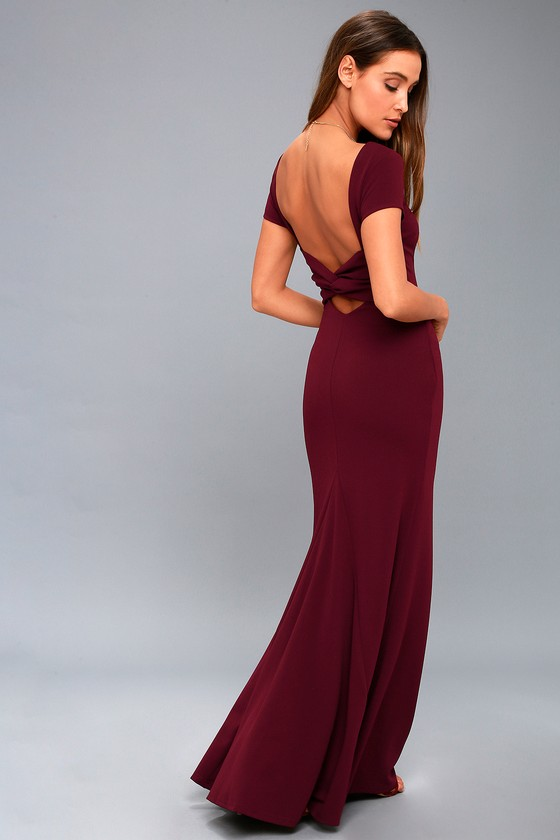 3c284c0649d Stunning Burgundy Maxi Dress - Short Sleeve Backless Dress