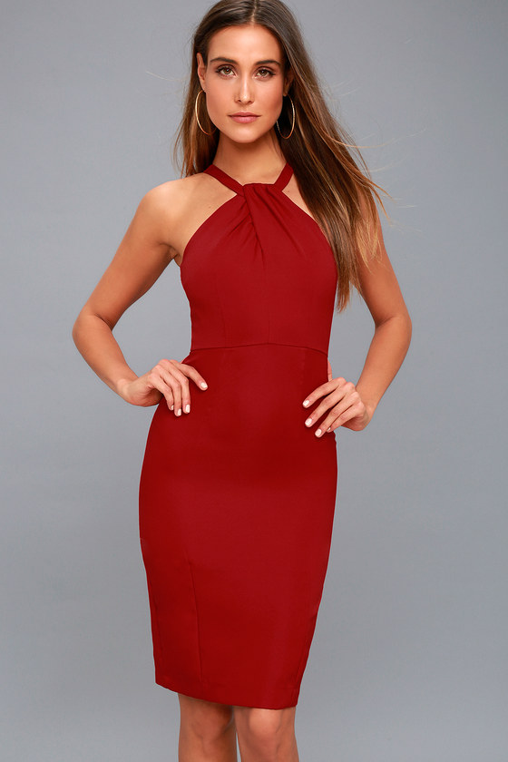 Be My Baby Wine Red Bodycon Midi Dress 6