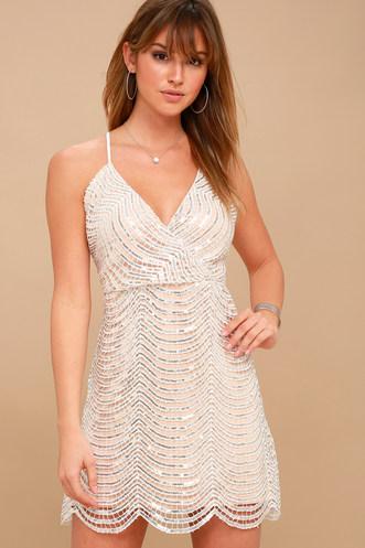 59f7f94e899 Lele White and Silver Sequin Mini Dress