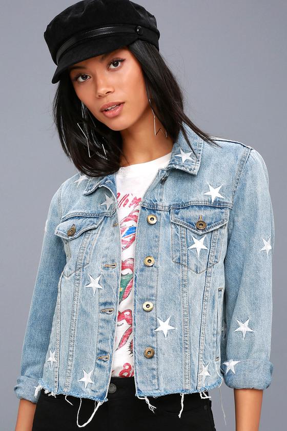 88f027d73b3 Cool Star Print Denim Jacket - Light Wash Denim Jacket