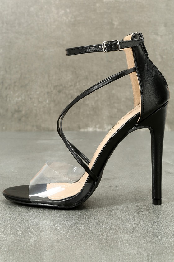 33fa585b7a1 Sexy Black Heels - Vinyl Strap Heels - Ankle Strap Heels
