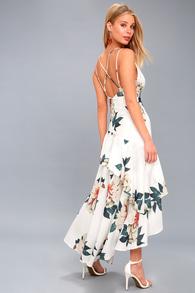 a53e36d9ef2 Glam Blue and White Dress - White Lace Dress - Lace Midi Dress