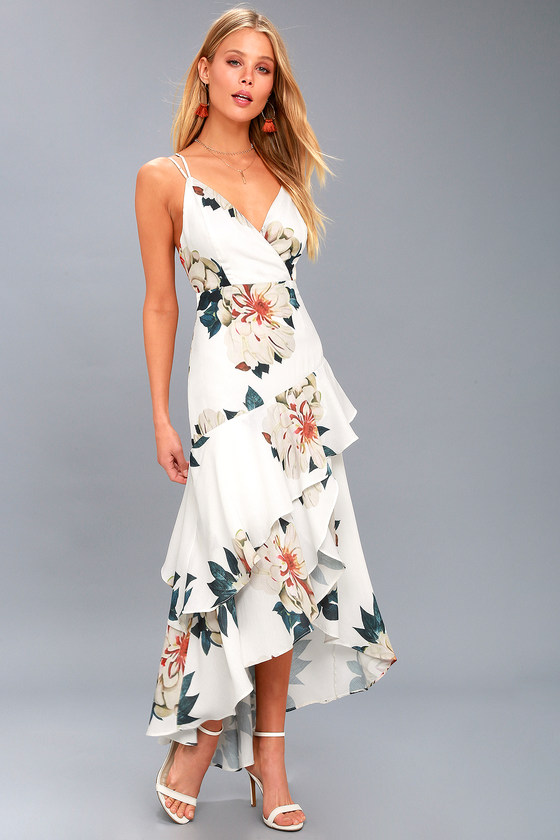c96f4534756d Cute White Floral Print Maxi Dress - High-Low Floral Dress