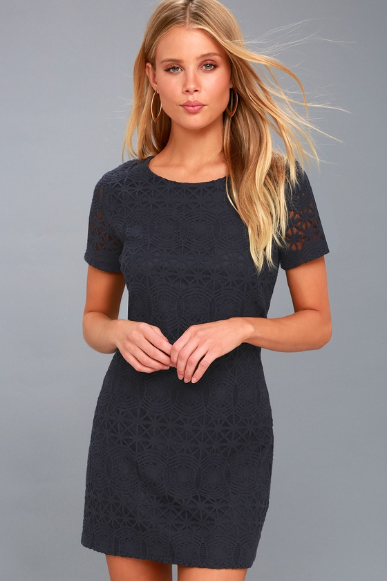 c86f04b08a Cute Navy Blue Dress - Lace Dress - Blue Shift Dress