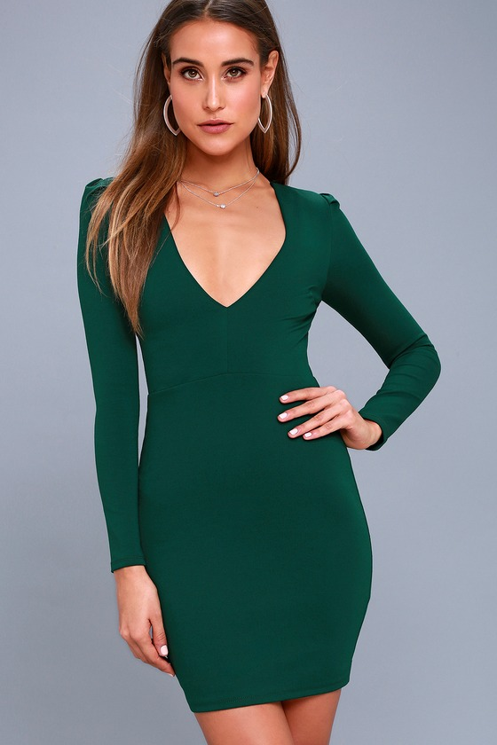 cc61431201b6 Sexy Long Sleeve Dress - Forest Green Bodycon Dress