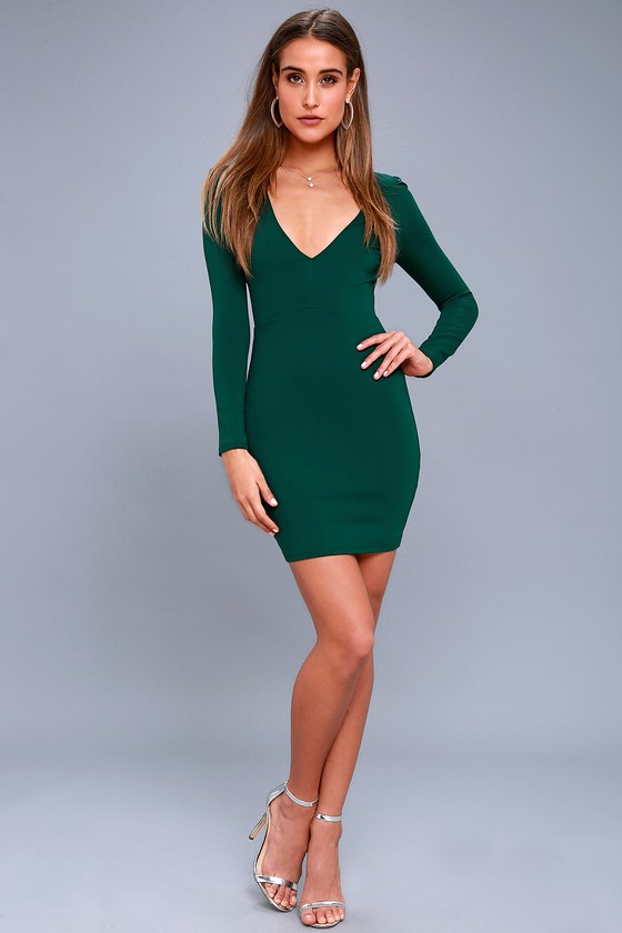 d250456d0090 Haute in Here Forest Green Long Sleeve Bodycon Dress