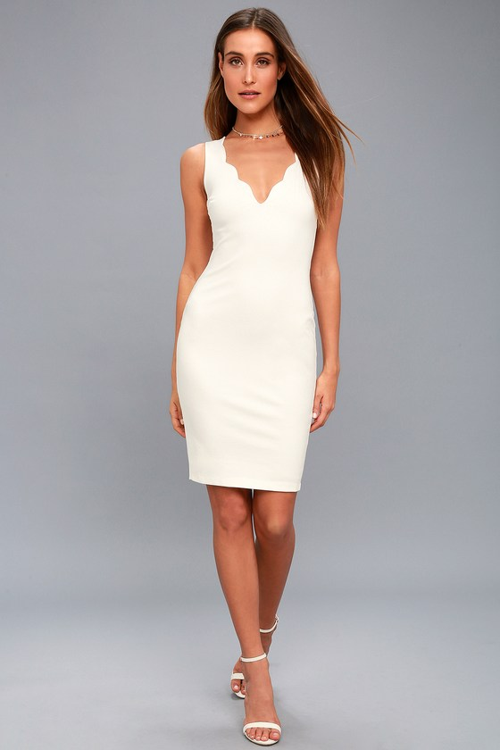 620a908221584 Sexy White Dress - Bodycon Dress - Scalloped Dress - LBD