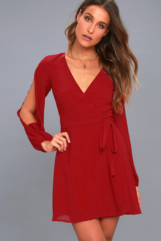 4c67ee6c41c6 Cute Wine Red Wrap Dress - Cold Shoulder Dress