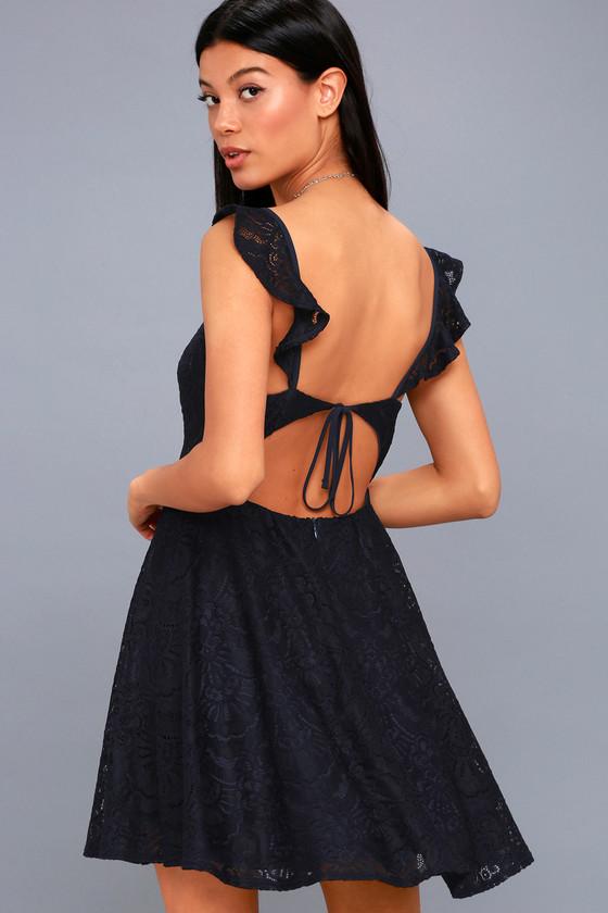 4799294733 Navy Blue Lace Dress - Lace Dress - Backless Skater Dress