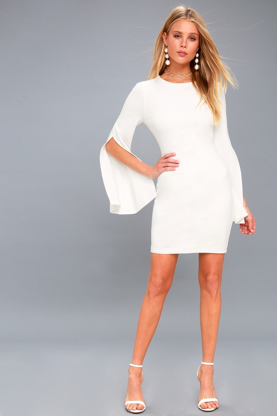 0d670a8643e Chic White Dress - Bell Sleeve Dress - Bodycon Dress - LWD