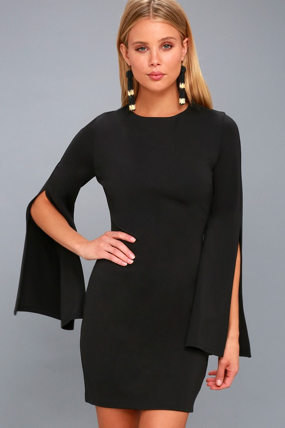 eb3d2c5069d Chic Black Dress - Bell Sleeve Dress - Bodycon Dress - LBD