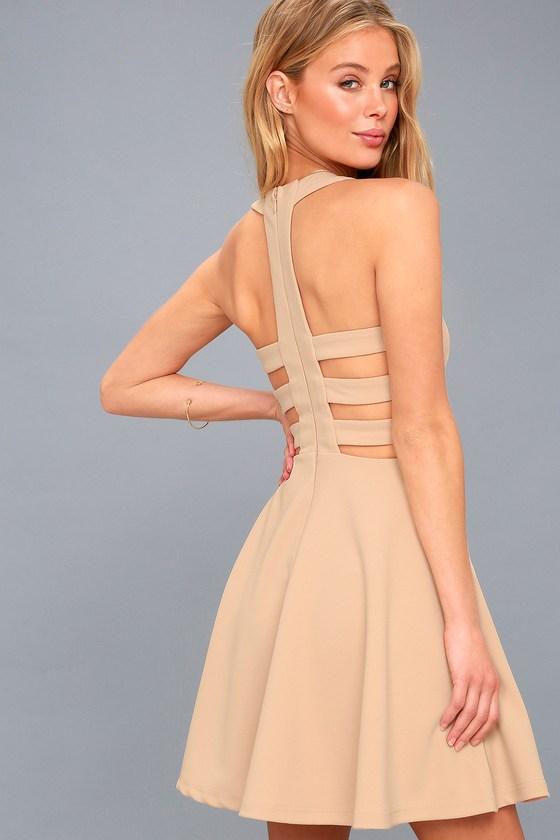 a08fa6ce7c157 Sexy Nude Dress - Backless Skater Dress - Cutout Dress
