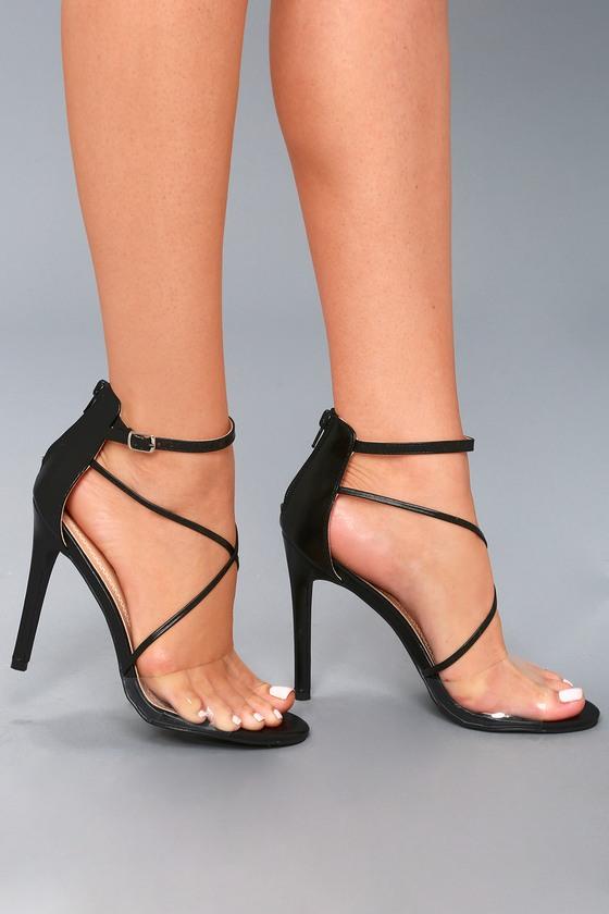 913c4fc4a3f1 Sexy Black Heels - Vinyl Strap Heels - Ankle Strap Heels