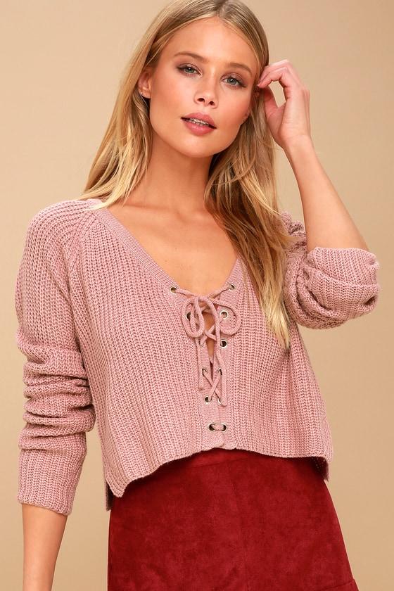 74e2afd1ec Cute Cropped Sweater - Mauve Sweater - Lace-Up Sweater