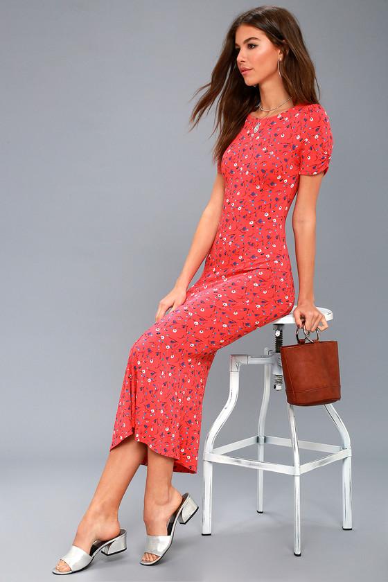 f9cec706dab2 Free People Caroline - Red Floral Print Dress - Midi Dress